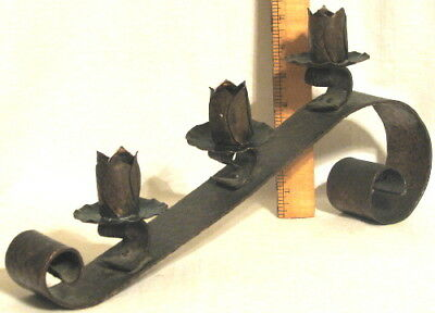 Rare Antique Arts & Crafts Era Heavy Hammered Copper Mantle Candlestick Holder