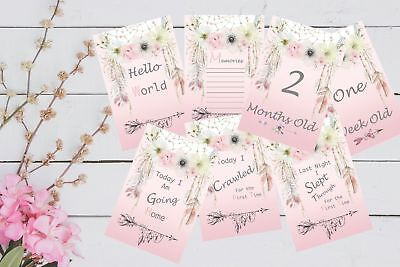 Baby Milestone Cards 6x4 Pkt of 32 Cards Boho Girls Baby shower Gift