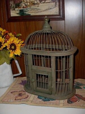 Vintage Rustic Wood and Metal Wire Domed Decorative Bird Cage