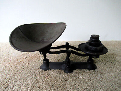 Antique Balance Scale Vtg Primitive General Store Cast Iron, 4 Weights, Tin Tray