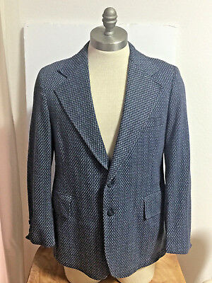 MENS VTG MOD 60/70s PETERS BLUE SPORT COAT BLAZER JACKET HERRINGBONE KNIT-SZ 40
