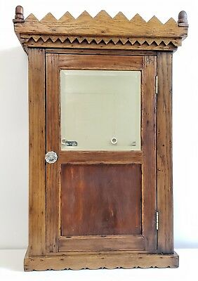 Antique Victorian Hand Carved Oak Medicine Wall Cabinet Apothecary Mirror Ornate