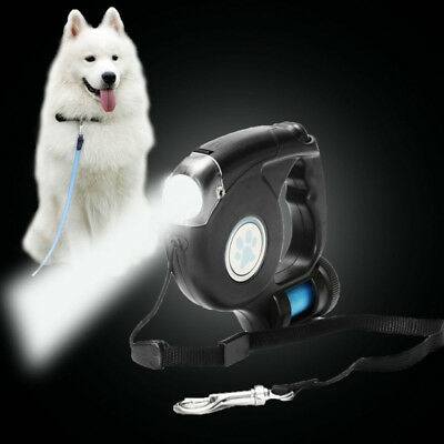 Retractable Extending Pet Dog Leash Lead with LED/FLASH Light and Garbage Bag UK