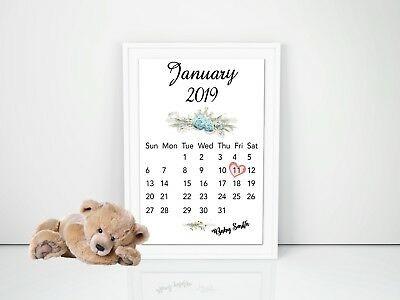 Pregnancy Announcement Calendar Due Date Personalised Unisex Size A4 300gsm