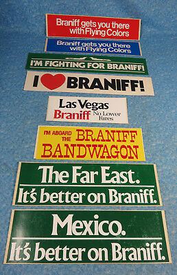 Lor of 8 Vintage Braniff International Airlines  Stickers