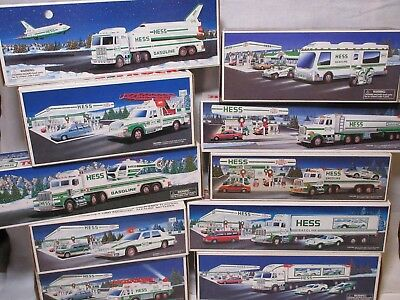 Hess Truck 90's Collection, Lot of 10 Vehicles 1990-1999 Original Boxes. MIB
