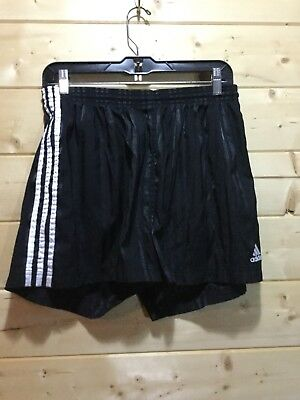 Adidas Mens Vintage Black Nylon Shiny Satin Soccer Shorts Running Size XL