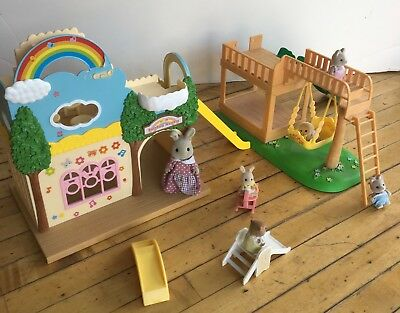 Calico Critters Rainbow Nursery and playground (+ 5 toddlers and teacher)