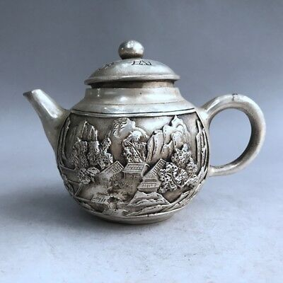Collection Chinese Ancient Pure Copper Hand-Carved Building Design Teapot