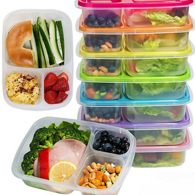 1XMeal Prep Containers 3-Compartment Lunch Boxes Food Storage with Lids Portable