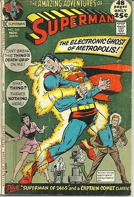 Lot of 10 Early Bronze Age Superman Comics Issues 244 - 275 Years 1971 - 1974