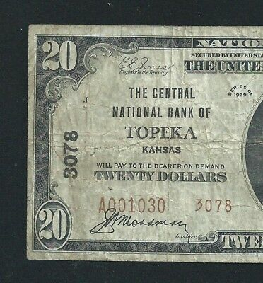 1929 $20 The Central National Bank Of << Topeka >> Kansas