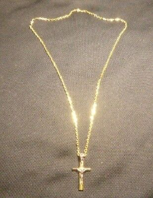 "14K 20'' Yellow Gold Link Necklace, W/ 1"" White & Yellow Gold Crucifix 10.3 Gram"