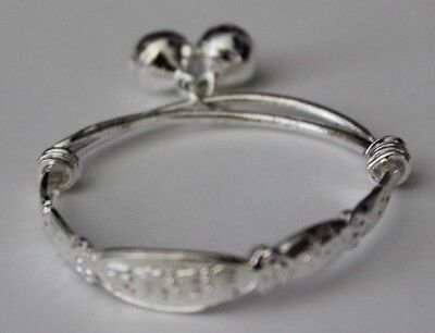 Cute Baby Girls Lovely Designed Shaped Silver Plated Bell Bangle