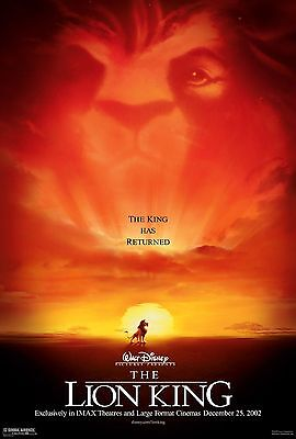 THE LION KING IMAX Animated Disney Original Double Sided 27x40 Movie Poster