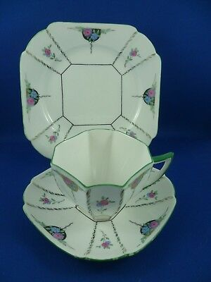 SHELLEY Queen Anne PINK & BLUE FLOWERS Cup, saucer & plate RD723404 Pat 11475