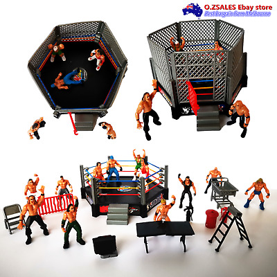 WWF WWE WrestleMania 12 MINI Action Figurines With Ring Fence cake topper