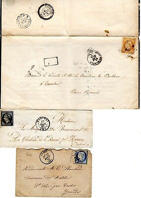 France lot de 3 lettres dont 2  Obli OR Dans Un Cercle- N° 13 - N° 14A - N° 60C