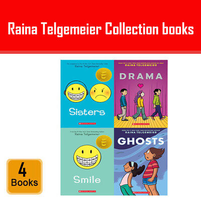 Raina Telgemeier 4 Books Collection Set Drama Smile Ghosts Sisters Pack NEW Pb