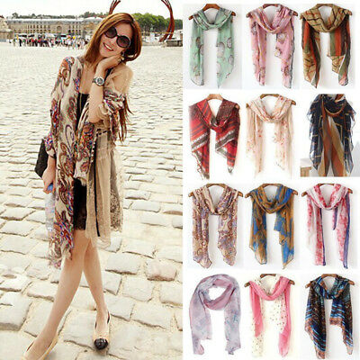 Women's Long Neck Large Scarf Wrap Shawl Stole Scarves Pashmina Chiffon Cotton
