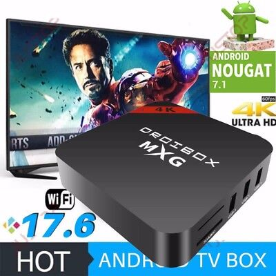 MXG 4K Quad Core Android 7.1 TV Box HD Pro Smart Media Player HDMI 2.0 WI-FI NEW