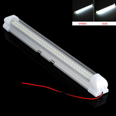 12V 72LED Car Interior White Strip Lights Lamp Van Caravan ON OFF Switch Hot