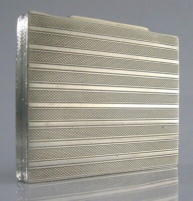 SOLID SILVER ENGINE TURNED BOX CASE c1930-40 SWEDISH ART DECO