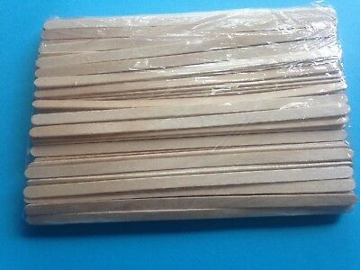 """120 x Wooden Coffee Tea Stirrers Craft Sticks 5.5"""" Long In Sealed  Bag FREE POST"""