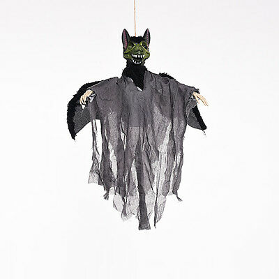 HANGING ANIMATED BAT Ghost Horror Sound Control Eyes Flash Halloween
