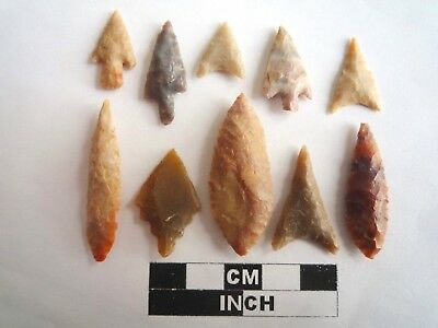 Neolithic Arrowheads x 10, High Quality Selection of Styles - 4000BC - (2133)
