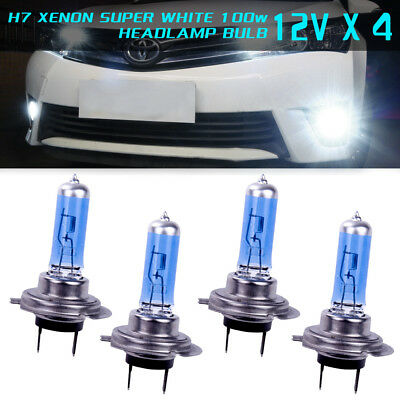 4x H7 XENON COOL WHITE 100W BULBS DIPPED BEAM 12V HEADLIGHT HID CAR LIGHT