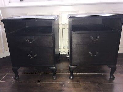 Antique style bedside cabinets x 2 dark brown wood