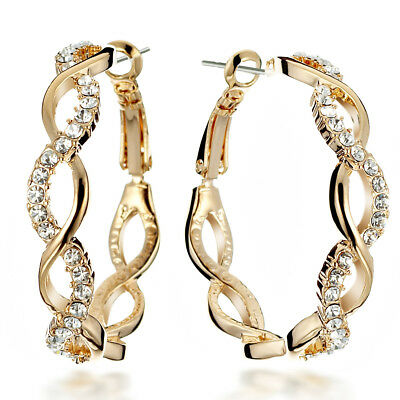 """18K Gold Filled 1.8Ct 36pcs Crystal Round Hoop Wedding  Clip-On Earring 1.5"""" 045"""