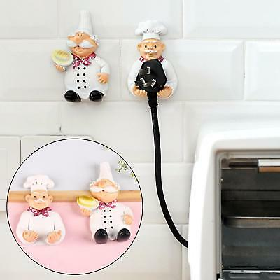 Kitchen Cartoon Chef Style Resin Storage Rack Wall Hanger Towel Hooks Sticky ONE
