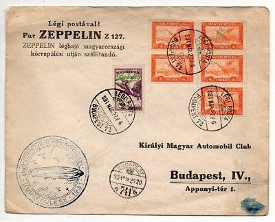 1931 Hungary Zeppelin Round Flight Cover, High Value Franking, Rare