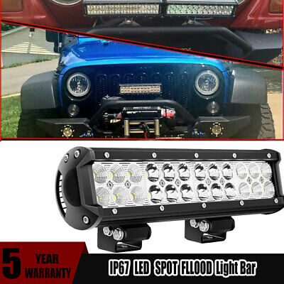 Car ATV UTV Pickup 12inch 72w LED Light Bar Work Spot Flood Combo Beam 4wd