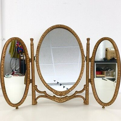 Antique Gold Folding Vanity 3 Part Mirror Retro Hollywood Regency Vintage