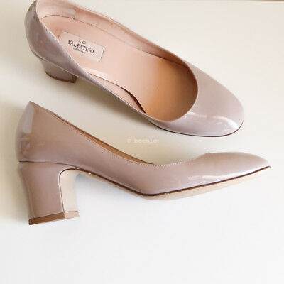100% authentic VALENTINO 'tango patent leather pumps' heels nude pink round 37.5