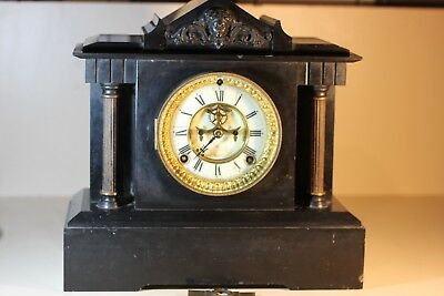 Antique Slate Mantel Clock, Ansonia Clock Co, USA
