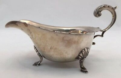 English Sterling Silver Gravy Sauce Boat by Alexander Clark Co Birmingham 1934