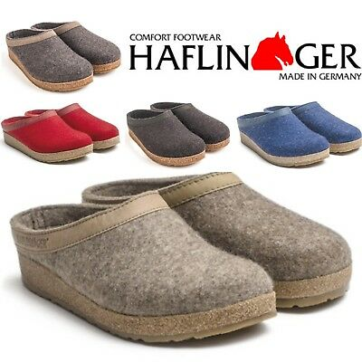 Haflinger Grizzly Torben Wool Felt Slippers Clogs - All Colors And Sizes