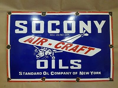 Socony Aircraft Oils Vintage Porcelain Sign 30 X 20 Inches