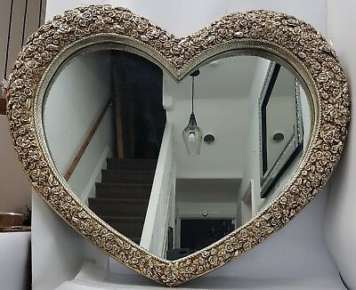Antique French Replica Love Heart Large Wall Mirror Champagne Gold 110x90x7cm