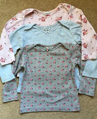 Mini Boden Baby Pointelle Tops Long Sleeved 18-24 Months Grey, Blue, Pink Floral