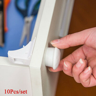 10Pcs Magnetic Cabinet Drawer Cupboard Locks for Baby Kids Safety Child Locks ~