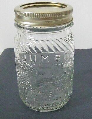 Vintage Jumbo Elephant Peanut Butter Anchor Hocking Glass Jar 1 lb.