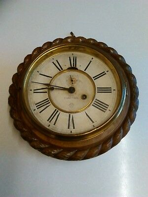 Early 20th Cent 'Ansonia' 1 Day Oak Cased Wall Timepiece - with Key (1371)