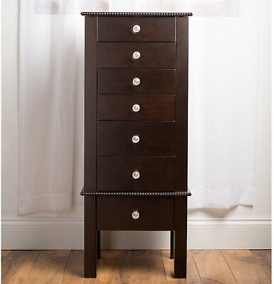 Hives And Honey Hannah Espresso Crystal Jewelry Armoire