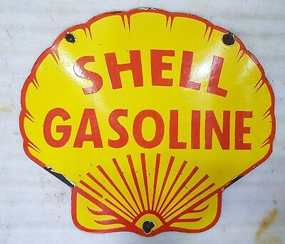 SHELL GASOLINE Porcelain Enamel SIGN 18 X 16 INCHES