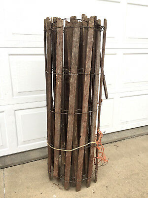 "20 FT. VINTAGE WOOD SLATS & WIRE YARD FENCING GATE Salvage  CRAFTING 48"" Tall"